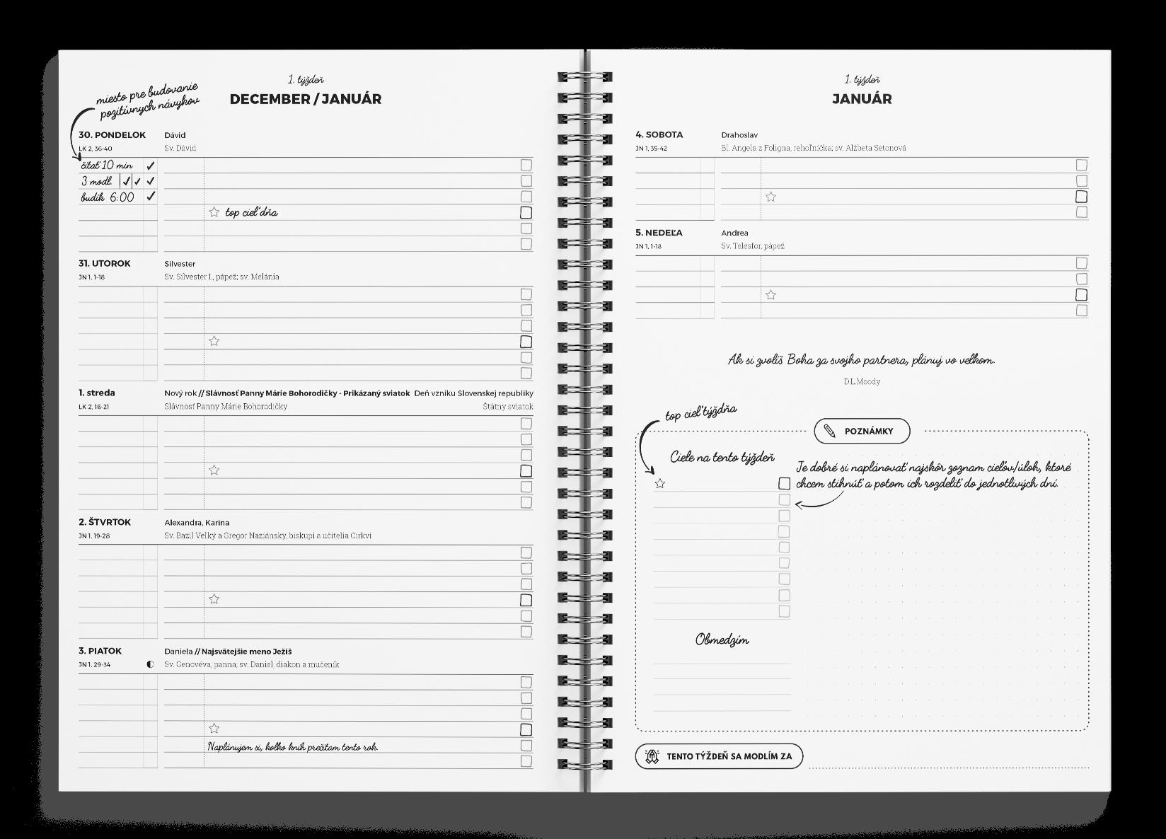Kresťanský motivačný diár - týždenný prehľad a týždenné plánovanie. Motivačný citát. Kalendár svätých. Lunárny kalendár.