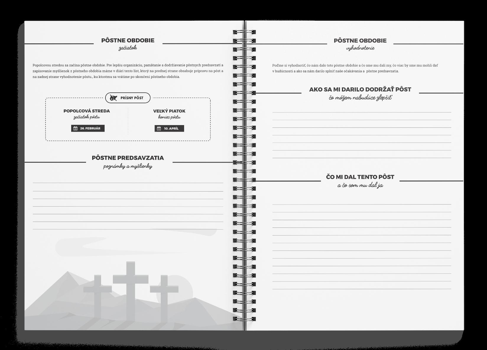 Kresťanský  motivačný diár - úvod do pôstneho obdobia. Pôstne predsavzatia.