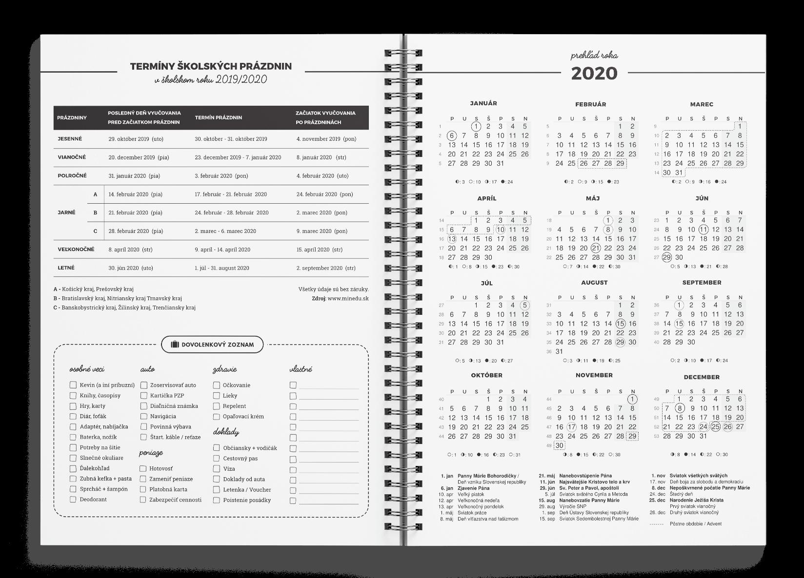 Kresťanský motivačný diár: prehľadný ročný kalendár 2019, sviatky, prázdniny a dovolenkový zoznam