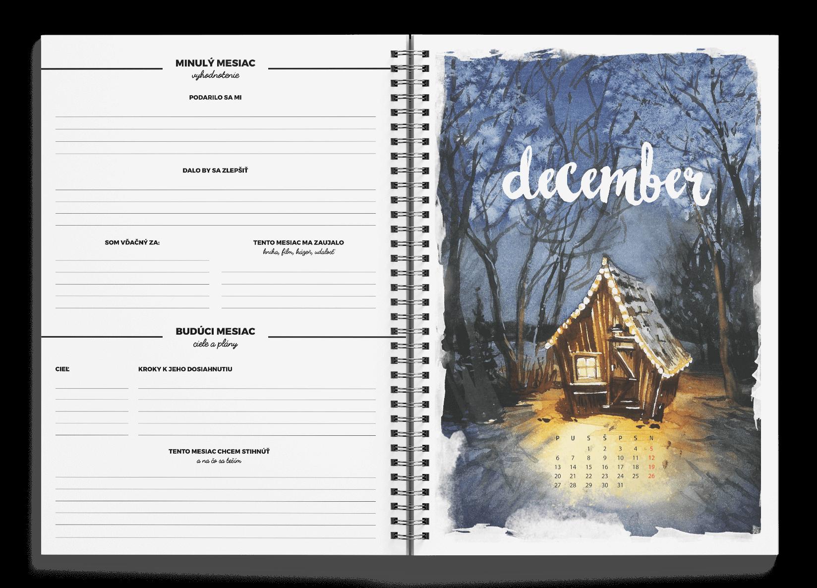 Kresťanský motivačný diár. Vyhodnotenie mesiaca. Plánovanie mesiaca. Ciele a plány. Advent.